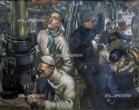 "NMM-F-009209-0000 - The control room of HMS ""Stubborn"", pastel on paper, William Dennis Dring (1904-1990), National Maritime Museum, Greenwich, London - National Maritime Museum, London / Alinari Archives"