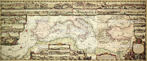 NMM-F-0F0513-0000 - Mappa del Mediterraneo, 1694, National Maritime Museum, Greenwich, Londra - National Maritime Museum, Londra / Archivi Alinari