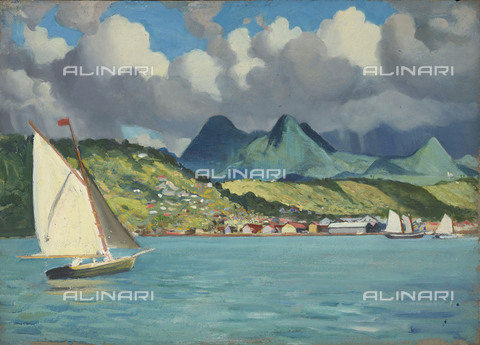 "NMM-F-0S0997-0000 - Martinique: Fort de France, from ""Suzanne"", oil on paper, John Everett (1876-1949), National Maritime Museum, Greenwich, London - National Maritime Museum, London / Alinari Archives"