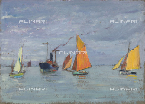 NMM-F-0S1078-0000 - Fishing boats, oil on paper, John Everett (1876-1949), National Maritime Museum, Greenwich, London - National Maritime Museum, London / Alinari Archives