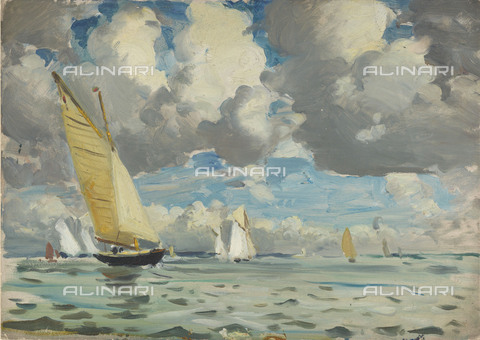 NMM-F-0S1083-0000 - Yachting at Cowes, oil on paper, John Everett (1876-1949), National Maritime Museum, Greenwich, London - National Maritime Museum, London / Alinari Archives