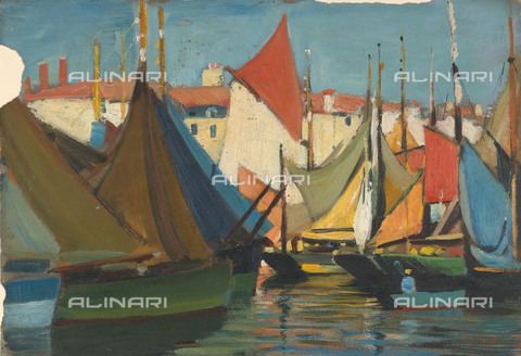 NMM-F-0S1085-0000 - La Rochelle: fishing boats in the harbour, oil on paper, John Everett (1876-1949), National Maritime Museum, Greenwich, London - National Maritime Museum, London / Alinari Archives