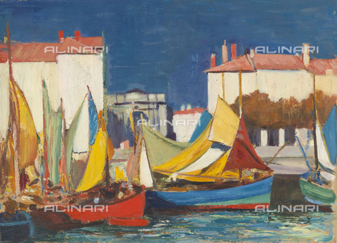 NMM-F-0S1086-0000 - La Rochelle: fishing boats in the Quai des Dames, oil on paper, John Everett (1876-1949), National Maritime Museum, Greenwich, London - National Maritime Museum, London / Alinari Archives