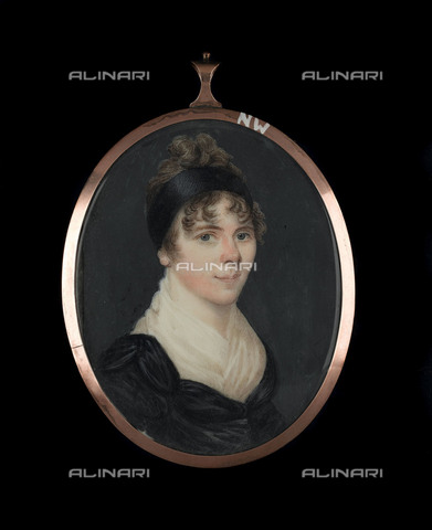 NMM-F-F43842-0000 - Portrait of Horatia Nelson (1801-81), illegitimate daughter of Lady Emma Hamilton and Admiral Horatio Nelson, watercolor on ivory, National Maritime Museum, Greenwich, London - National Maritime Museum, London / Alinari Archives