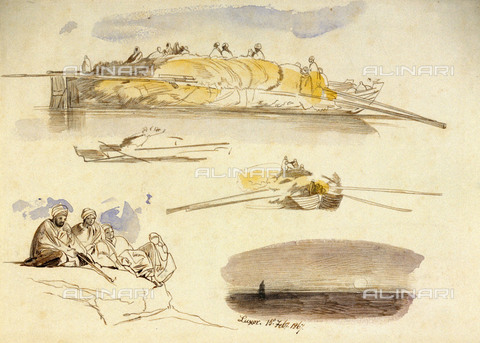 NMM-F-PU9101-0000 - Luxor, watercolor, graphite and ink, Edward Lear (1812-1888), National Maritime Museum, Greenwich, London - National Maritime Museum, London / Alinari Archives