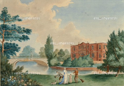 NMM-F-PY6235-0000 - View of Merton Place with Lady Emma Hamilton (Emily Lyon 1761-1815), mistress of Admiral Nelson and his daughter Horatia in the park, the National Maritime Museum, Greenwich, London - National Maritime Museum, London / Alinari Archives