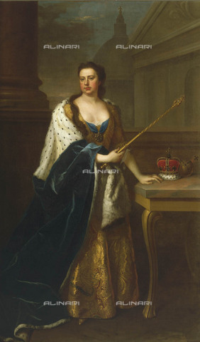 NMM-S-000BHC-2515 - Portrait of Queen Anne (1665-1714), oil on canvas, Michael Dahl (1656 / 9-1743), National Maritime Museum, Greenwich, London - National Maritime Museum, London / Alinari Archives
