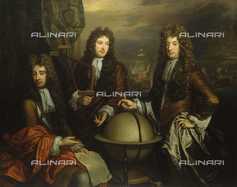 NMM-S-000BHC-2547 - John Benbow (1653-1702), Sir Ralph Delavalle (circa 1645-1707) and Thomas Phillips (circa 1635-1693), oil on canvas, Thomas Murray (1663-1734), National Maritime Museum, Greenwich, London - National Maritime Museum, London / Alinari Archives