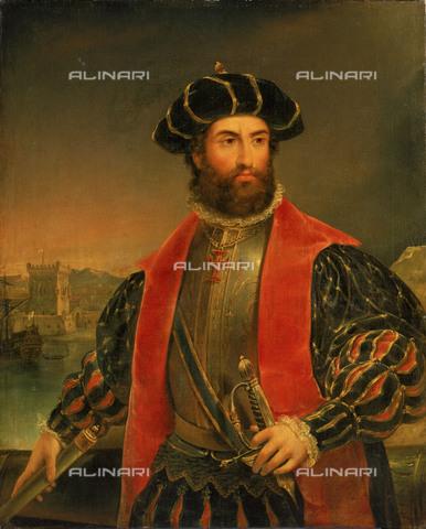 NMM-S-000BHC-2702 - Ritratto dell'esploratore portoghese Vasco de Gama (1469-1524), olio su tela, Antonio Manuel da Fonseca (1796-1890), Museo Nazionale Marittimo, Greenwich, Londra - National Maritime Museum, Londra / Archivi Alinari