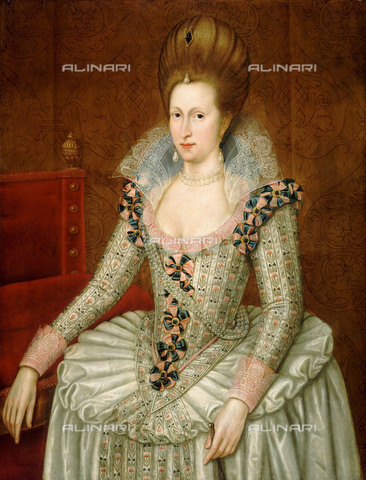 NMM-S-000BHC-4251 - Anne of Denmark, oil on canvas, John de Critz (c. 1552-1642) (attr.), National Maritime Museum, Greenwich, London - National Maritime Museum, London / Alinari Archives