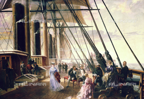 NMM-S-000BHC-4252 - On board the 'Great Eastern' boat that travels from Sheerness to Valentia, oil on canvas, Robert Dudley (1826-1909), National Maritime Museum, Greenwich, London - National Maritime Museum, London / Alinari Archives