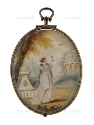 NMM-S-00F952-1001 - Allegory of Freedom that releases a dove, a gift of Lady Emma Hamilton (Emily Lyon 1761-1815) to her lover Admiral Horatio Nelson, watercolor on ivory, medallion, National Maritime Museum, Greenwich, London - National Maritime Museum, London / Alinari Archives