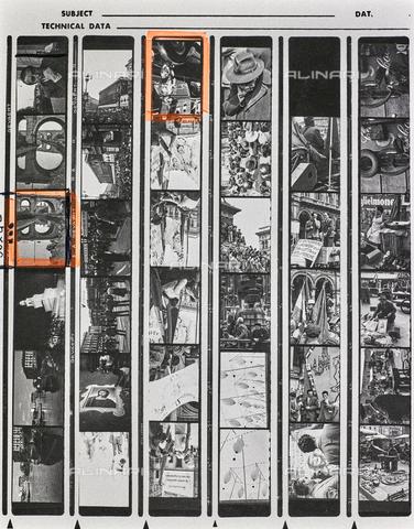 """NPA-F-000133-0000 - Vedute animate di Milano con palazzi, manifestazioni, il castello Sforzesco: provini del """"Gruppo Rikorda"""" - Data dello scatto: 1960 ca. - Archivi Alinari, Firenze"""