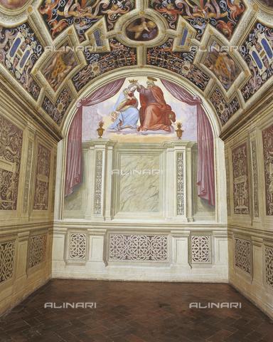 OBN-F-000734-0000 - Bezel set with Coronation of the Virgin, fresco, Ridolfo del Ghirlandaio (1483-1561), the Chapel of the Popes, the Convent of Santa Maria Novella, Florence - Date of photography: 29/09/2014 - Nicolò Orsi Battaglini/Alinari Archives, Florence