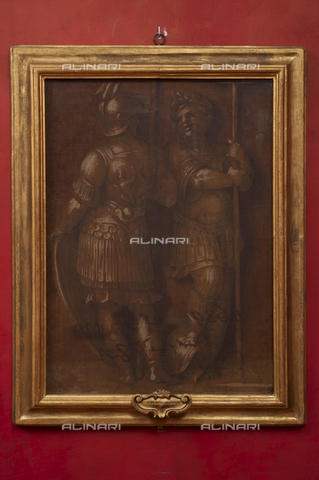 OBN-F-000748-0000 - Two guards, monochrome fresco, Andrea del Sarto (1486-1530), The Uffizi Gallery, Florence - Date of photography: 29/09/2014 - Nicolò Orsi Battaglini/Alinari Archives, Florence, Courtesy of the Ministry of Heritage and Cultural Activities