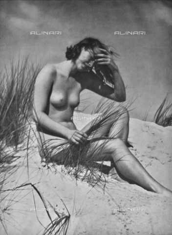 PDC-A-004668-0010 - Naked female sitting - Date of photography: 1935-1938 - Fratelli Alinari Museum Collections-Palazzoli Collection, Florence