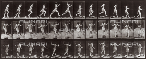 "PDC-A-004694-0170 - ""Animal Locomotion"" (plate 170): sequence of woman jumping amongst stones - Data dello scatto: 1887 - Archivi Alinari, Firenze"
