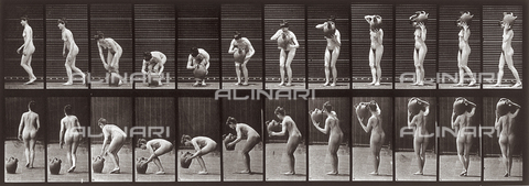 "PDC-A-004694-0225 - ""Animal Locomotion"" (tav. 225): sequenza di donna nuda che prende una brocca - Data dello scatto: 1887 - Archivi Alinari, Firenze"