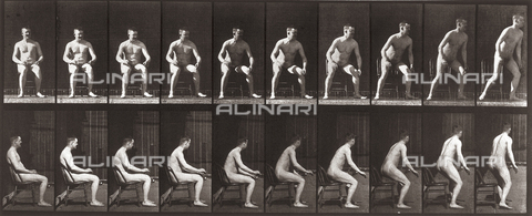 "PDC-A-004694-0249 - ""Animal Locomotion"" (plate 265): sequence of nude man getting up off a chair - Data dello scatto: 1887 - Archivi Alinari, Firenze"