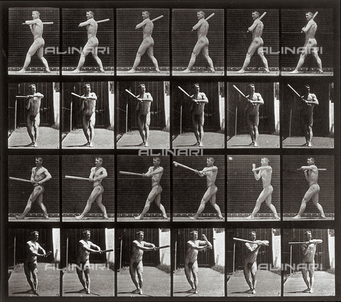 "PDC-A-004694-0274 - ""Animal Locomotion"" (plate 274): sequence of a nude man with a baseball bat - Data dello scatto: 1887 - Archivi Alinari, Firenze"