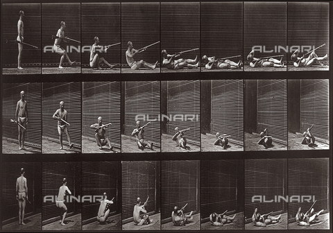 "PDC-A-004694-0358 - ""Animal Locomotion"" (plate 358): sequence with a man performing a fall with a rifle in his hand - Data dello scatto: 1887 - Archivi Alinari, Firenze"