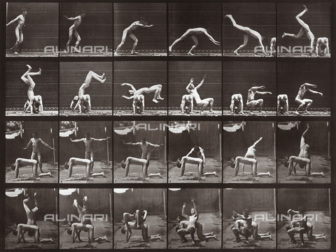 "PDC-A-004694-0364 - ""Animal Locomotion"" (plate 364): sequence with nude man overtaking another man whilst performing a jump - Data dello scatto: 1887 - Archivi Alinari, Firenze"
