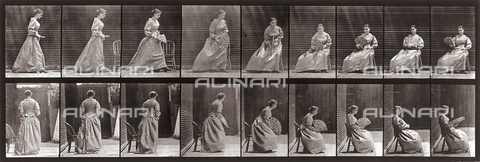 "PDC-A-004695-0240 - ""Animal Locomotion"" (plate 240): sequence of a young woman with a fan sitting down - Data dello scatto: 1887 - Archivi Alinari, Firenze"