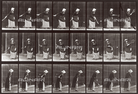 "PDC-A-004695-0297 - ""Animal Locomotion"" (plate 297): sequence with a woman playing tennis"