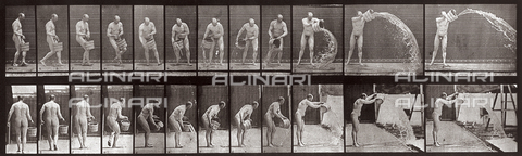 "PDC-A-004695-0399 - ""Animal Locomotion"" (plate 399): sequence with a naked man throwing water with a bucket - Data dello scatto: 1887 - Archivi Alinari, Firenze"