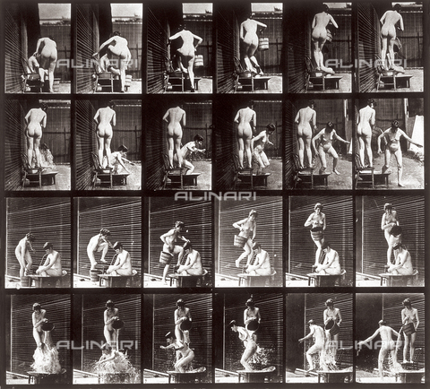 "PDC-A-004695-0407 - ""Animal Locomotion"" (plate 407): sequence with two naked girls pouring water - Data dello scatto: 1887 - Archivi Alinari, Firenze"