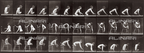 "PDC-A-004695-0538 - ""Animal Locomotion"" (plate 538): sequence with a naked boy without legs getting on and off a chair - Data dello scatto: 1887 - Archivi Alinari, Firenze"