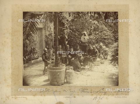 PDC-F-001326-0000 - Ritratto di gruppo con uomini e donne seduti ad un tavolo in un angolo di giardino ricco di piante e vari oggetti - Data dello scatto: 1876 - Archivi Alinari, Firenze