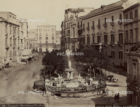 PDC-F-001408-0000 - Neptune Fountain in Via Medina, Naples - Date of photography: 1885 ca. - Fratelli Alinari Museum Collections-Palazzoli Collection, Florence