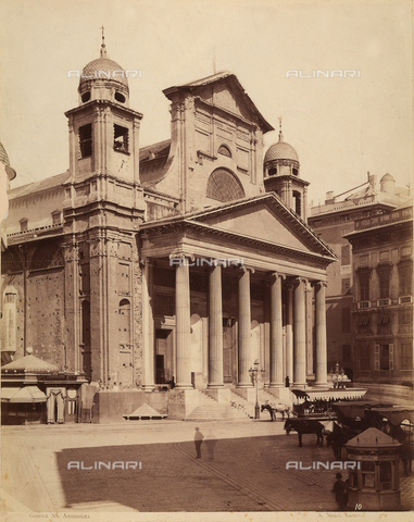 PDC-F-001541-0000 - Three-quarter view of the facade of the Church of the Santissima Annunziata in Genoa and part of the left side - Data dello scatto: 1865 -1885 ca. - Archivi Alinari, Firenze