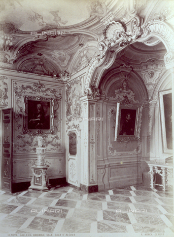 PDC-F-001551-0000 - Corner of the 'Sala d'Alcova' in Palazzo Brignole Sale. Richly decorated walls in rococò style - Data dello scatto: 1875-1895 - Archivi Alinari, Firenze