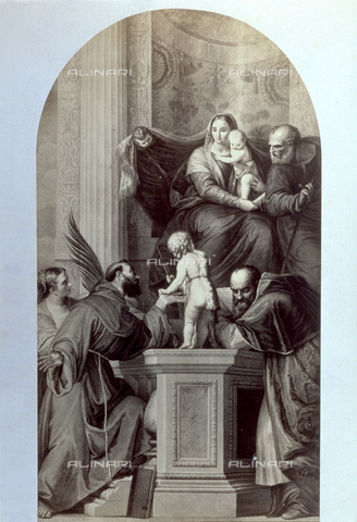 PDC-F-001739-0000 - Picture of an engraving of a 'Madonna Enthroned' by Veronese - Data dello scatto: 1855-1875 - Archivi Alinari, Firenze