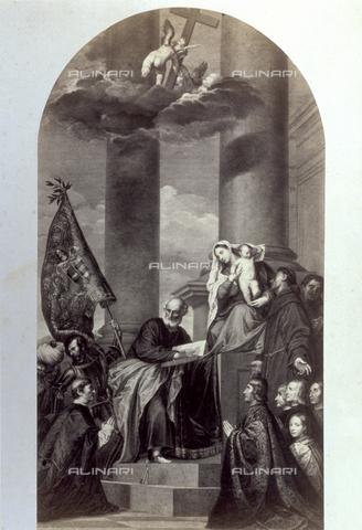 PDC-F-001741-0000 - Picture of an engraving of Titian's 'Pala Pesaro' - Data dello scatto: 1860-1870 ca. - Archivi Alinari, Firenze