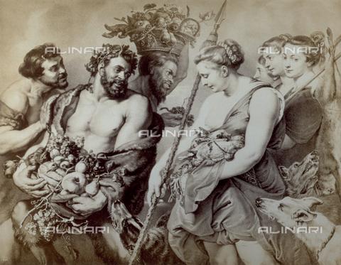 PDC-F-001751-0000 - L'immagine riproduce un'incisione raffigurante 'I Baccanali', di P.P.Rubens - Data dello scatto: 1860-1870 ca. - Raccolte Museali Fratelli Alinari (RMFA)-collezione Palazzoli, Firenze