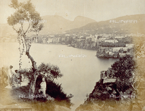 PDC-F-001810-0000 - Panorama of the Gulf of Sorrento with the high cliffs overlooking the sea. In the foreground on the left, four men are standing under a slender olive tree - Data dello scatto: 1860-1880 ca. - Archivi Alinari, Firenze
