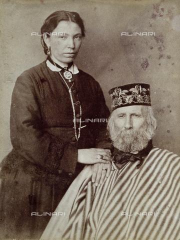 PDC-F-001939-0000 - Ritratto di Giuseppe Garibaldi con la terza moglie Francesca Armosino - Data dello scatto: 1873-1875 - Archivi Alinari, Firenze