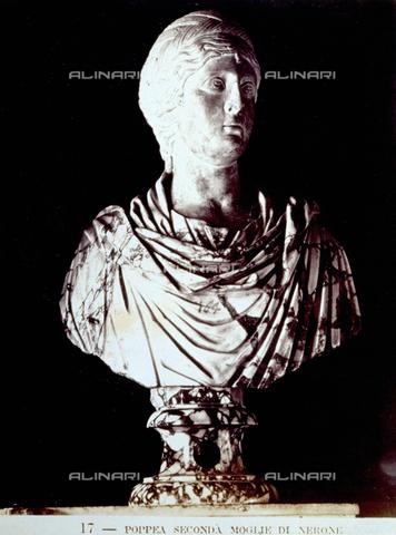 PDC-F-002249-0000 - Busto marmoreo raffigurante Poppea, seconda moglie dell'imperatore Nerone, conservato presso il Museo Capitolino a Roma. - Data dello scatto: 1860 -1880 - Archivi Alinari, Firenze