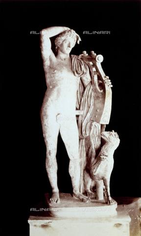 PDC-F-002278-0000 - L'immagine riproduce la statua di Apollo Liceo, da originale della cerchia prassitelica, conservata nel Museo Capitolino a Roma. Il dio è raffigurato, senza vesti, con accanto un grifone ed in mano una cetra. - Data dello scatto: 1860-1880 - Archivi Alinari, Firenze