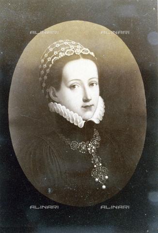 PDC-F-003416-0000 - Dipinto raffigurante Philippina Welser, l'effigiata veste eleganti abiti seicenteschi, impreziositi da una vistosa collana. - Data dello scatto: 1870-1890 - Archivi Alinari, Firenze