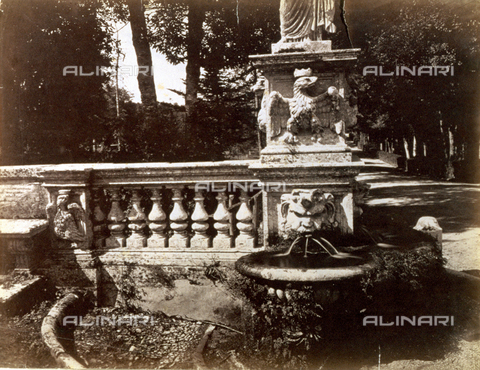 PDC-S-000461-0002 - In the foreground a marble balustrade which ends in a small fountain in which the water flows from a gargoyle applied to the base of a statue. The base is also decorated by an eagle in high relief. To the right in the background a tree-lined avenue and thick vegetation - Data dello scatto: 1870-1890 ca. - Archivi Alinari, Firenze