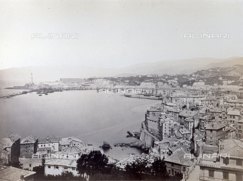 PDC-S-000590-0001 - Panorama of the port of Genoa, Italy, with boats moored in the distance. In the background, on the left, the lighthouse can be seen. - Data dello scatto: 1860-1870 - Archivi Alinari, Firenze