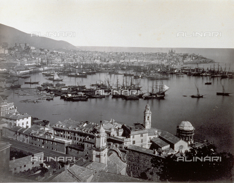 PDC-S-000590-0002 - Panorama of the port of Genoa, Italy, with sail boats moored in the foreground - Data dello scatto: 1870 ca. - Archivi Alinari, Firenze