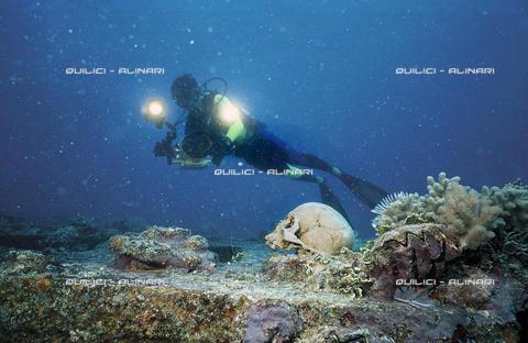 QFA-S-000811-0MCR - Turismo subacqueo alla ricerca dei relitti di navi giapponesi; Laguna di Truk, Micronesia - Data dello scatto: 1991 - Folco Quilici © Fratelli Alinari
