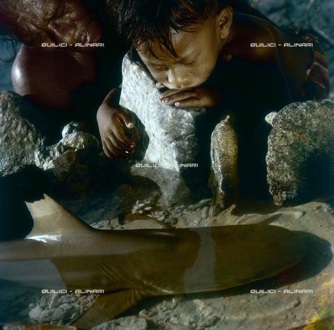 QFA-S-055405-00SP - Isole Tuamotu. Rangiroa. Bambini e piccolo squali catturati. - Data dello scatto: 1955 - Folco Quilici © Fratelli Alinari
