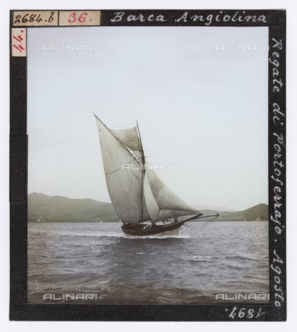 """RGD-S-000036-2684 - """"Angiolina"""" sailing boat during a race in Portoferraio, Elba Island - Data dello scatto: 08/1897 - Archivi Alinari, Firenze"""