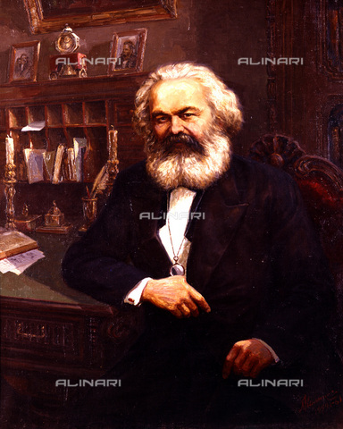 RNA-F-434340-0000 - Karl Marx, reproduction of a painting by L. Kalinovsky, Museum of Karl Marx and Frederick Engels, Moscow - Sputnik/ Alinari Archives